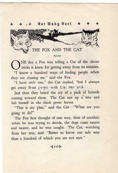 The Fox and the Cat 1928 Antique Print Children's Book Illustration Nursery Decor Aesop