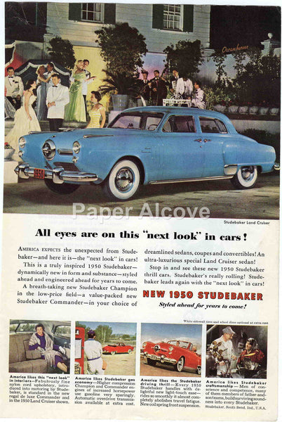 Studebaker 1950 Champion Commander Land Cruiser 1949 vintage original old magazine ad South Bend IN Ocean House garden party