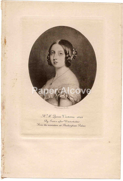 H.M. Queen Victoria 1842 old vintage print Emery Walker Essex F. Winterhalter Buckingham Palace England