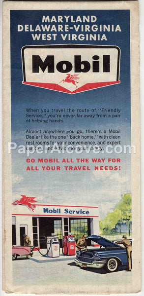 Mobil Maryland Delaware Virginia West Virginia 1962 vintage old map Socony gas oil service station
