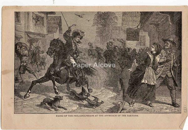 Panic of the Philadelphians at the Approach of the Paxtons 1883 old vintage antique engraving print native american indians horses Conestoga massacre