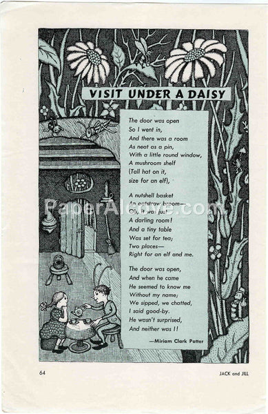 Visit Under a Daisy 1957 old vintage print Miriam Clark Potter poem illustrated page