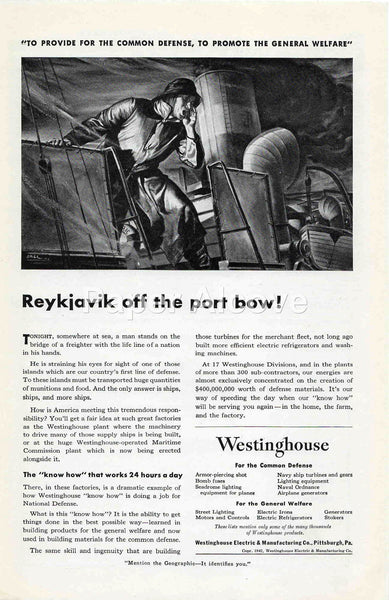 Westinghouse Reykjavik off the port bow! 1942 ad WWII war effort Maritime Commission merchant marine fleet turbine engines #237