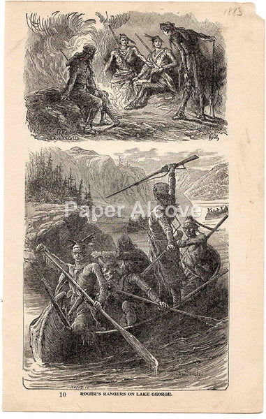 Roger's Rangers on Lake George 1883 old vintage antique engraving print Elviro Michael Andriolli Huyot native american French and Indian War