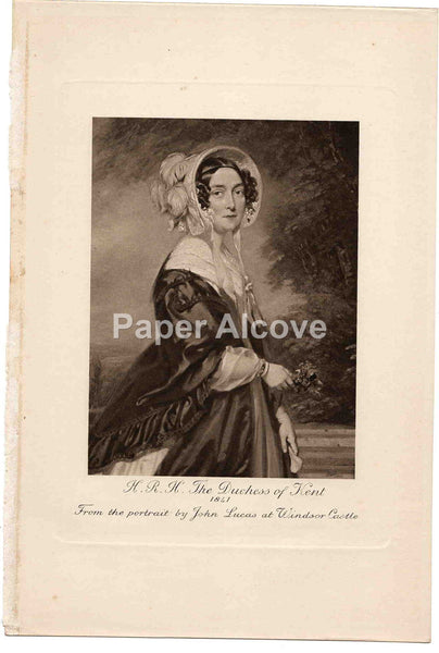 H.R.H. The Duchess of Kent old vintage print John Lucas Windsor Castle England