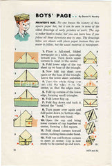 Boys' Page Printer's Hat 1957 old vintage print illustrated page