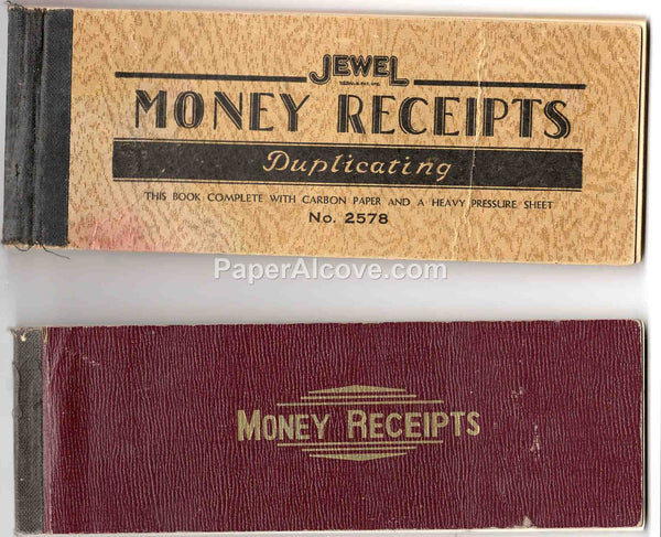 Money Receipts Books early 20th Century Lot of 2 vintage old paper Jewel pads