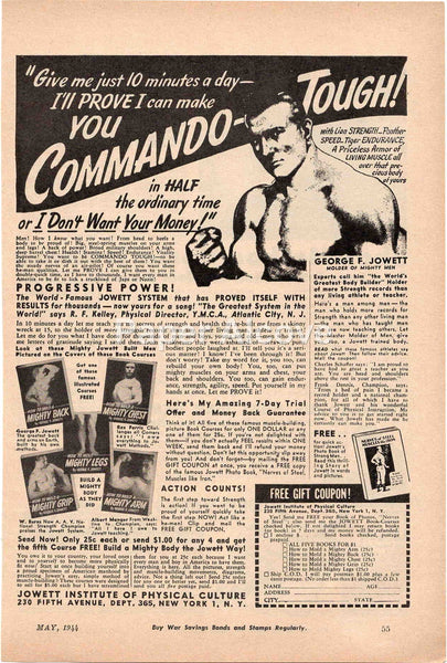 Commando Tough 1944 vintage original old magazine ad Jowett Institute of Physical Culture bodybuilding