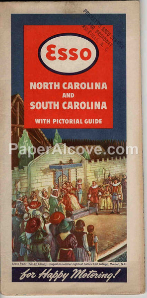 Esso North Carolina South Carolina 1948 vintage old map Prickett's Asheville gas oil service station
