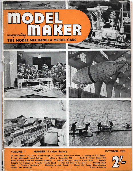 Model Maker October 1951 original vintage British hobbyist magazine model scale trains boats Model Mechanic Cars #B72
