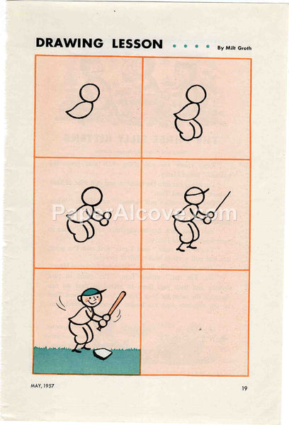 Drawing Lesson Baseball 1957 old vintage print Milt Groth illustrated page