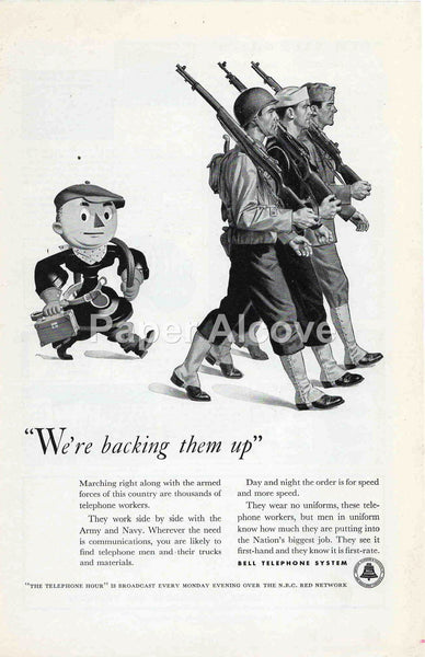 Bell Telephone System We're backing them up 1942 ad Army Navy WWII war effort mascot #237