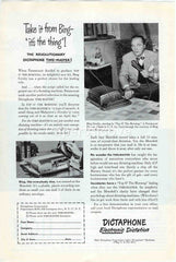 Dictaphone Corp. Bing Crosby 1949 vintage original old magazine ad Time-Master dictation machine