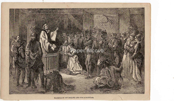 Marriage of Rolfe and Pocahontas 1883 old vintage antique engraving print W.L. Sheppard John Andrew & Son native american Indian Jamestown
