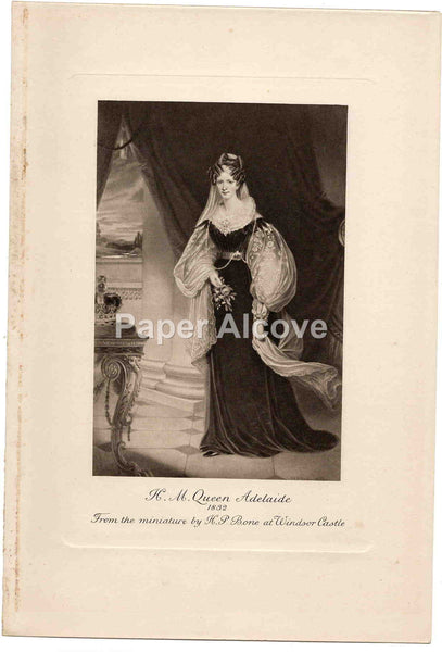 H.M. Queen Adelaide old vintage print H.P. Bone Windsor Castle England
