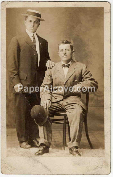 Two Men with Hats vintage Real Picture Postcard early 1900s vintage divided back studio portrait photograph RPPC unused