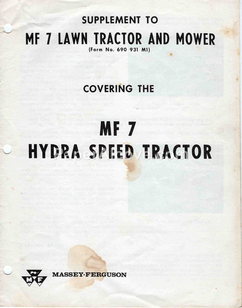 Massey-Ferguson MF7 Hydra Speed Lawn Tractor and Mower 1968 vintage original old Operator's Manual Supplement