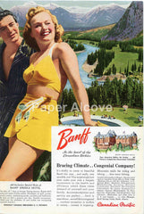 Canadian Pacific Railway Banff Springs Hotel 1942 ad blonde woman in yellow bathing suit #237