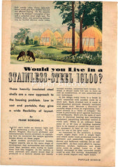 Stainless Steel pre-fab small houses 1944 old magazine article housing problem solution igloo