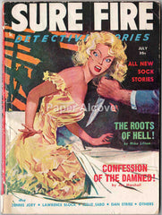 Sure Fire Detective Stories July 1958 Vol. 2 No. 3 original vintage pulp fiction digest-size magazine woman-in-peril WIP cover hard-boiled