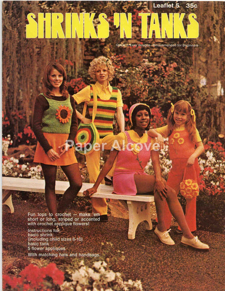 Shrinks 'n Tanks 1972 vintage original Leisure Arts fashion pattern leaflet 5 crocheting 70s fashion