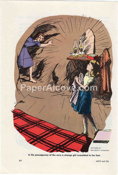 In the Passageway of the Cave a Strange Girl Scrambled to her Feet 1960 old vintage print Iris Beatty Johnson illustrated page