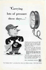 Bell Telephone System Carrying lots of pressure these days 1942 ad WWII war effort mascot #237