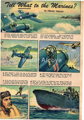 Tell What to the Marines? 1944 old magazine article comic style Frank Tinsley WWII Japanese fighter