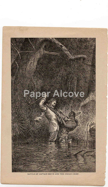 Battle of Captain Smith and the Indian Chief 1883 old vintage antique engraving print W.L. Sheppard native american Indian Jamestown