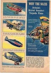 Bristol Beaufort Torpedo Plane 1944 old magazine article WWII British airplane Douglas Rolfe