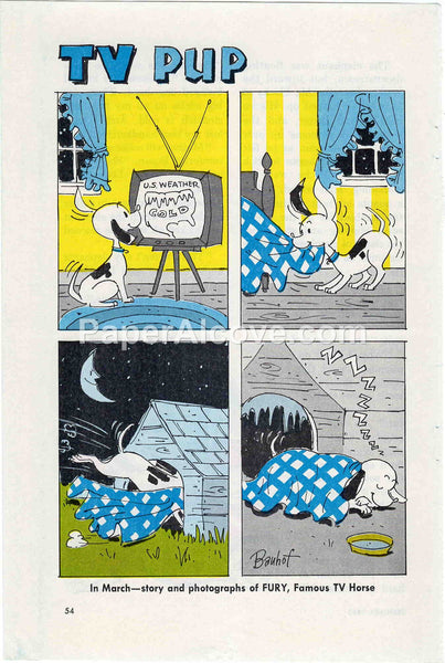 TV Pup 1960 old vintage print Bauhof illustrated comic strip cartoon page