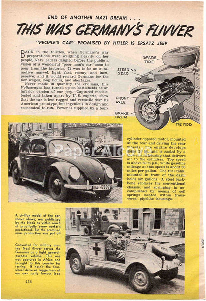 Volkswagen VW Bug Beetle 1944 old magazine article Germany's Flivver WWII Nazi Hitler B.G. Seielstad