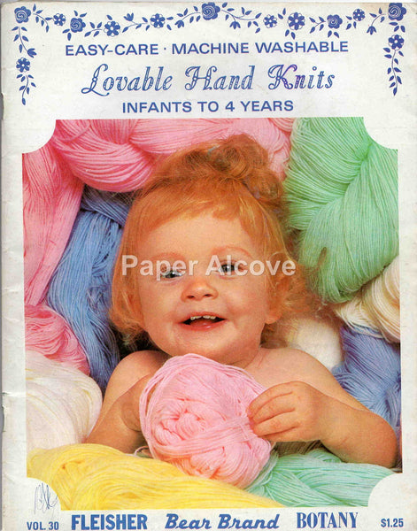 Lovable Hand Knits for Infants to 4 Years 1968 vintage original Fleisher Bear Brand Botany fashion pattern booklet vol. 30 knitting