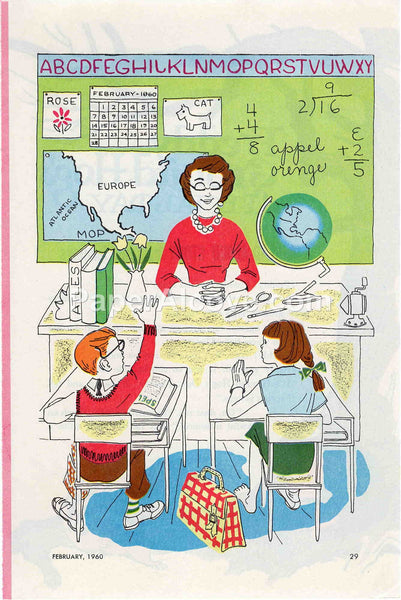 Teacher and Students 1960 old vintage print illustrated page