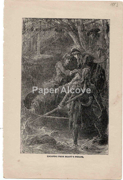Escaping from Brant's Indians & La Salle and his Companions 1883 old vintage antique engraving print Elviro Michael Andriolli Huyot native american