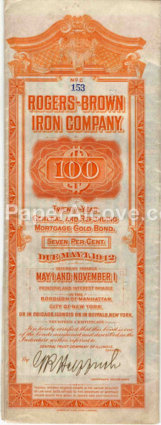 Rogers-Brown Iron Company $100 Gold Bond 1922 vintage original old bond certificate scripophily