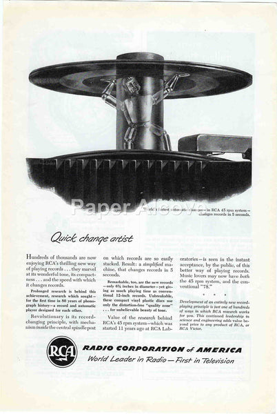 RCA Radio Corporation of America 45RPM automatic record changer 1949 vintage original paper advertising robot