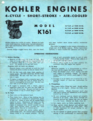 Kohler Model K161 Engine Operating Instructions 1959 vintage original old manual & parts list