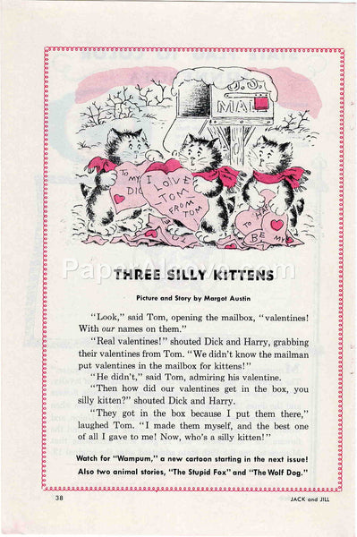 Three Silly Kittens Valentine's Day 1960 old vintage print Margot Austin illustrated page