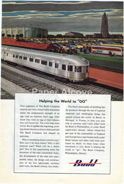 Budd Company 1949 vintage original paper advertising Philadelphia PA train car bus cars stadium Leslie Ragan