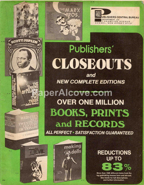Publishers Central Bureau 1970s vintage original old closeouts books catalog Avenel New Jersey