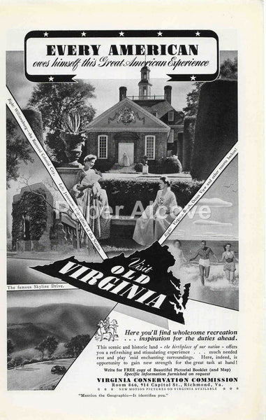 Virginia Conservation Commission 1942 ad travel tourism Williamsburg Skyline Drive Virginia Beach #237