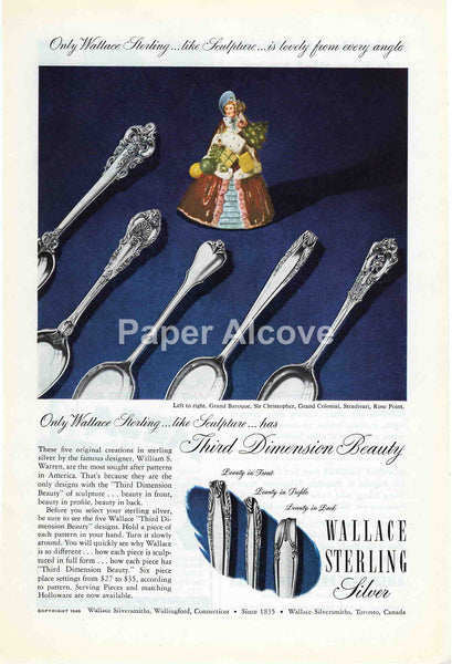 Wallace Sterling Silver flatware 1949 vintage original paper advertising silversmiths Wallingford CT Grand Baroque Sir Christopher Grand Colonial Stradivari Rose Point pattern
