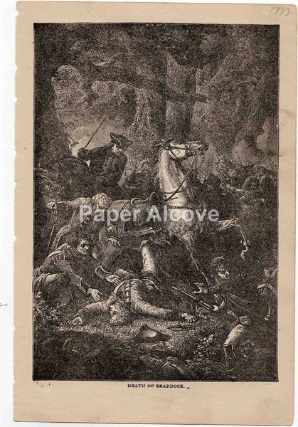 Death of Braddock 1883 old vintage antique engraving print Charles LaPlante French and Indian War British General
