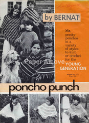 Poncho Punch 1960s vintage original Bernat fashion pattern booklet no. 171 for knitting or crocheting Young Generation hippie golden retriever