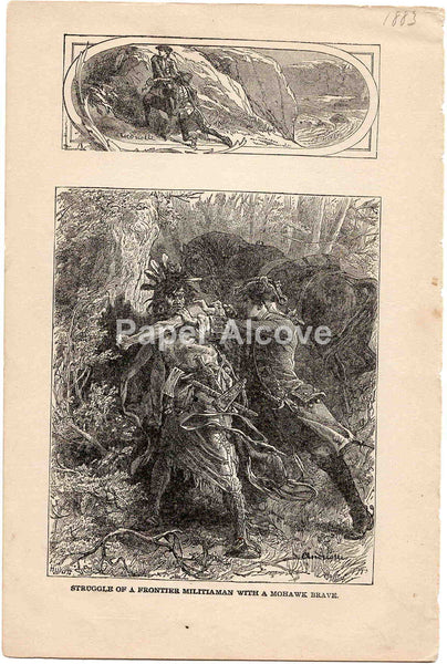 Struggle of a Frontier Militiaman with a Mohawk Brave 1883 old vintage antique engraving print Elviro Michael Andriolli Huyot native american indian