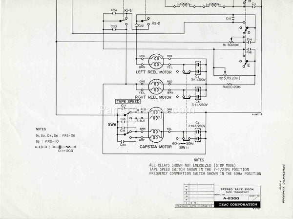 TEAC A-2300 Stereo Reel-to-Reel Tape Deck Tape Transport 1972 vintage original old schematic diagram electronics