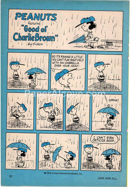 Peanuts Charlie Brown 1977 old vintage print Charles Schulz illustrated comic strip page baseball