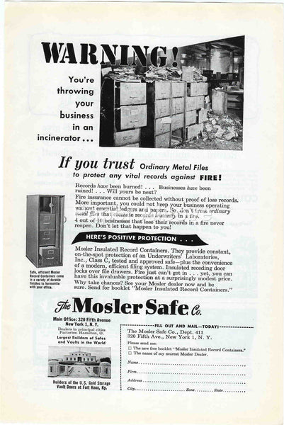 Mosler Safe Co. fireproof file cabinets 1949 vintage original paper advertising insulated record containers