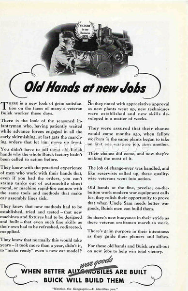 Buick War Goods Old Hands at New Jobs 1942 ad WWII #237